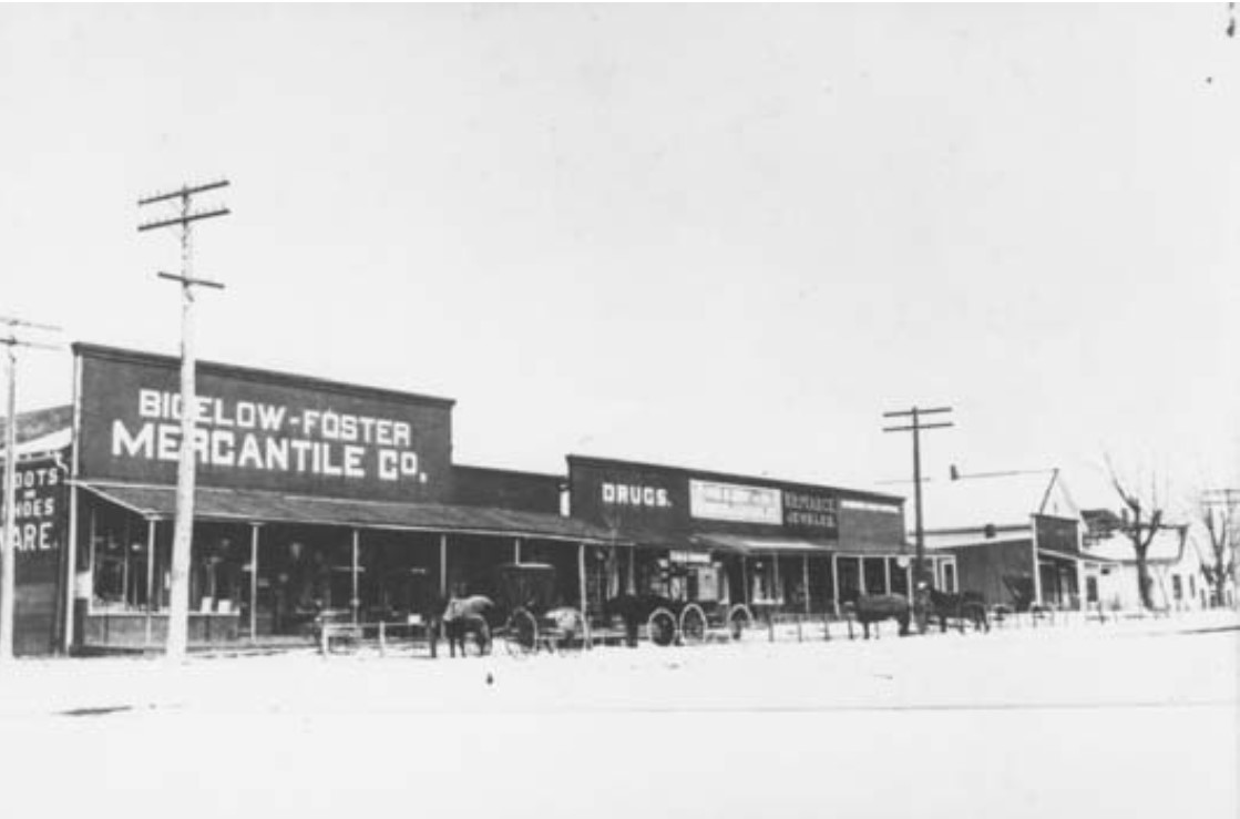 The Bigelow-Foster Mercantile, looking east down Main Street, date unknown